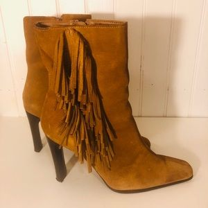 Predictions short ankle fringe boots real leather